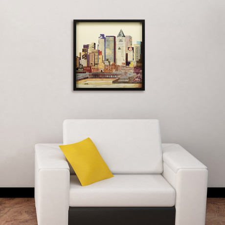 """""""New York City Skyline I"""" Dimensional Graphic Collage Framed Under Tempered Glass Wall Art"""
