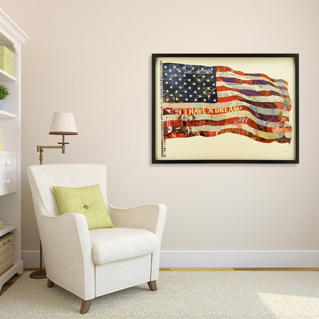 """""""Old Glory"""" Dimensional Graphic Collage Framed Under Tempered Glass Wall Art"""