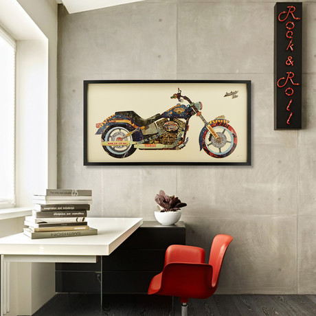 """""""Los Angeles Rider"""" Dimensional Graphic Collage Framed Under Tempered Glass Wall Art"""