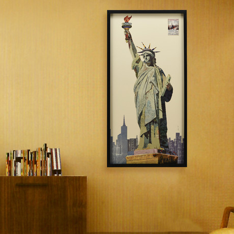"""""""Lady Liberty"""" Dimensional Graphic Collage Framed Under Tempered Glass Wall Art"""