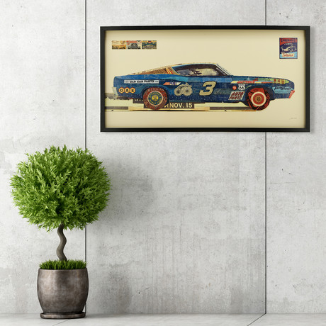 """""""Ford Torino"""" Dimensional Graphic Collage Framed Under Tempered Glass Wall Art"""
