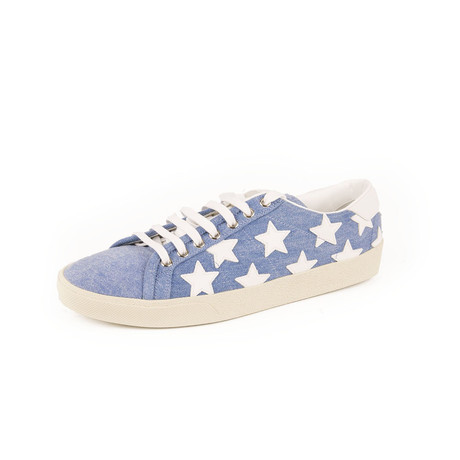 Star Embroidered Sneakers // White + Blue (Euro: 39)