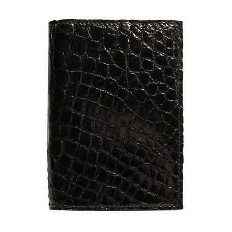 Crocodile Gusseted Card Case // Black