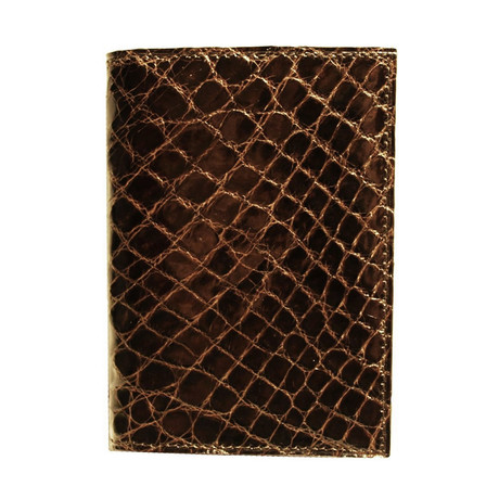 Crocodile Gussetted Card Case // Brown