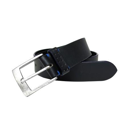 Jagger Genuine Leather Cut Edge Belt// Black (44)