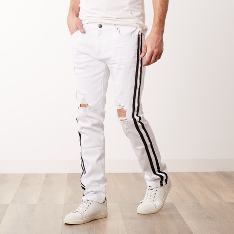 Destroyed Track Jeans // White (30WX30L)