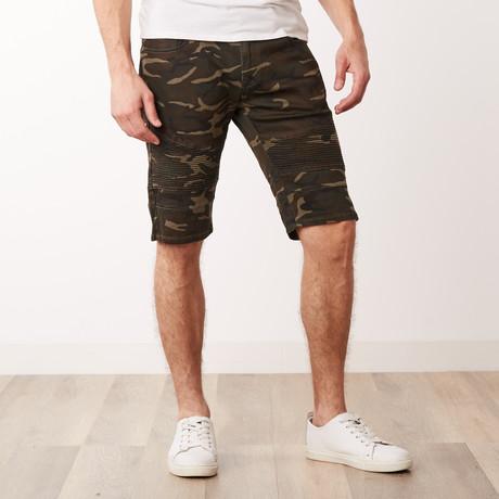 Camo Moto Shorts // Olive Camo (30)