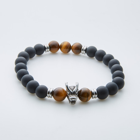 Steel Dragon Adjustable Bracelet // Onyx + Tiger Eye