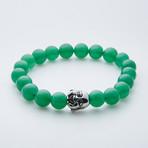 Dell Arte // Lucky Buddha + Jade Beaded Bracelet // Green + Silver
