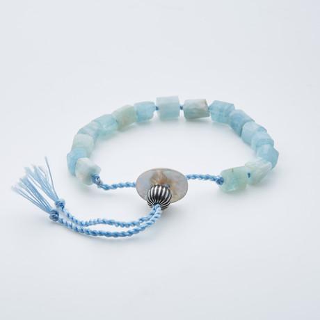 Dell Arte // Adjustable AA Grade Tanzanian + Aquamarine Shambala Bracelet // Blue