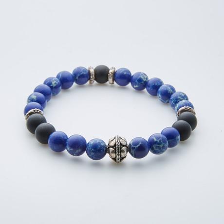 Onyx + Lapis Lazuli + Howlite Feather Charm Bracelet // Blue
