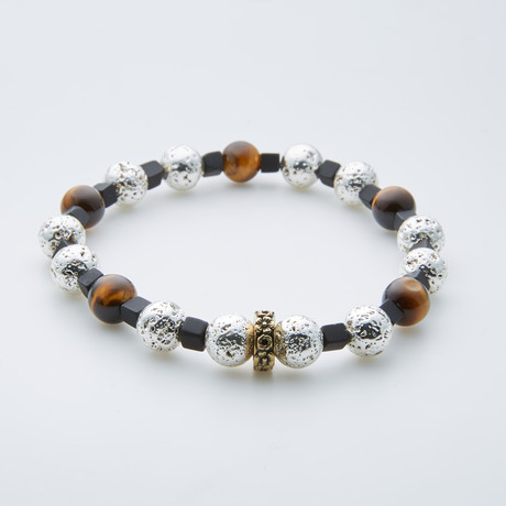 Tiger Eye + Lava Stone + Black Onyx Beaded Bracelet // Multicolor