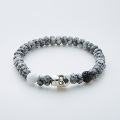 Dell Arte // Faceted Marble + Brass Skull Charm Bracelet // Silver