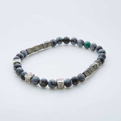 Snowflake Agate + Purite + Malachite Bracelet // Multicolor