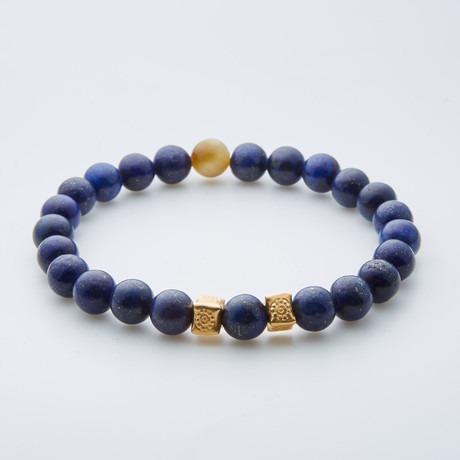 Dell Arte // Tanzanian Lapis Lazuli + Honey Tiger Eye Bracelet // Blue + Gold