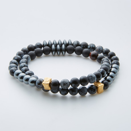 Dell Arte // Snowflake Agate + Onyx Double Wrap Beaded Bracelet // Multicolor