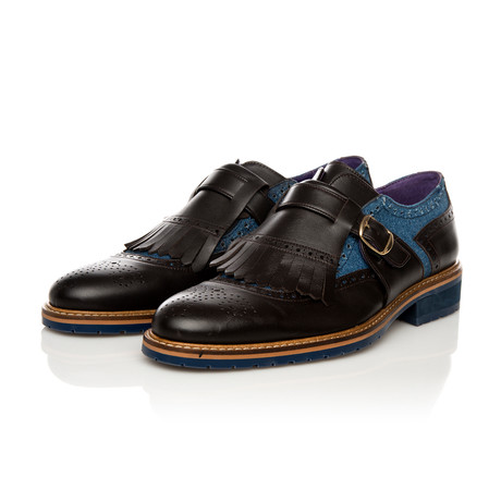 Monk Strap Shoes // Black + Blue (Euro: 39)