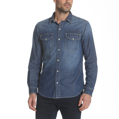 Western Denim Shirt // Medium + Stitch (S)