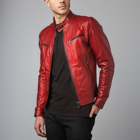 Hamilton Lamb Leather Biker Jacket // Red (Euro: 44)