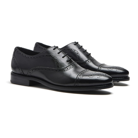 Black Cap-Toe Brogues // Goodyear Welted Construction // Black (US: 7)