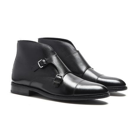 Black Double Monk Strap Boot // Goodyear Welted Construction // Black (US: 7)