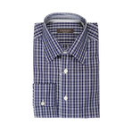 Canali // Patterned Slim Fit Shirt // Navy Blue (S)