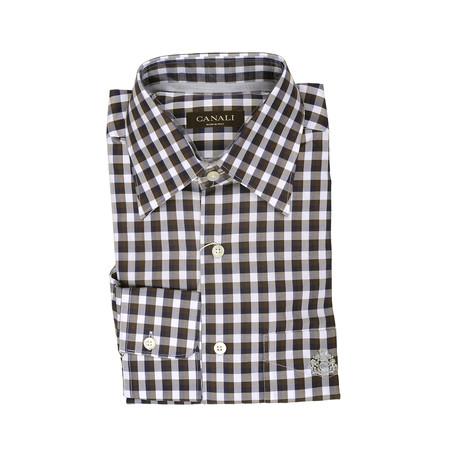 Canali // Plaid Modern Fit Shirt // Brown + White (S)