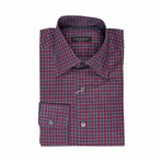 Canali // Plaid Regular Fit Shirt // Burgundy (S)