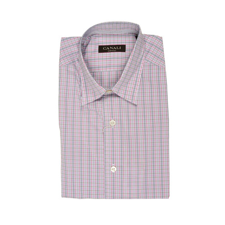 Canali // Plaid Slim Fit Shirt // Pink + Gray (S)