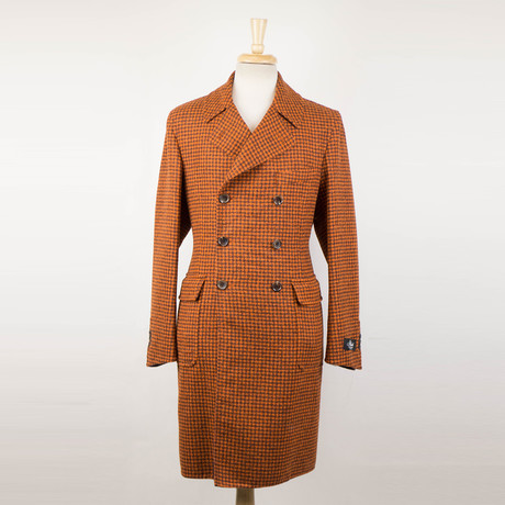 Belvest // Check Alpaca Blend Double Breasted Coat // Orange (Euro: 48)