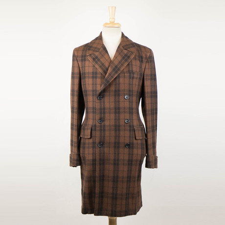 Belvest // Plaid Cashmere Double Breasted Coat // Brown (Euro: 48)