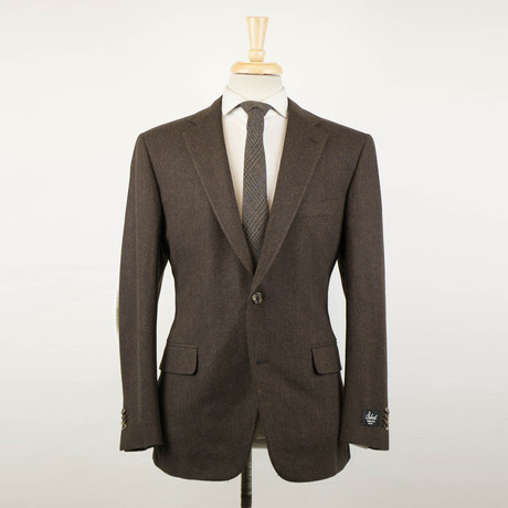 Belvest // Herringbone Wool 2 Button Sport Coat // Brown (US: 48R)