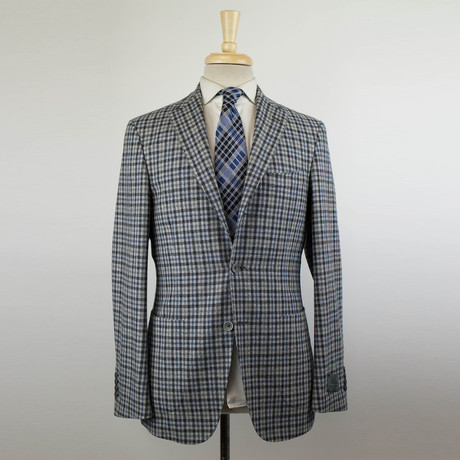 Belvest // Check Wool Blend 3 Roll Sport Coat // Gray (US: 48R)
