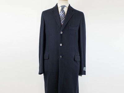 Photo of Belvest Refined Suits + Sportcoats Cashmere Full Length Coat // Blue (Euro: 54R) by Touch Of Modern