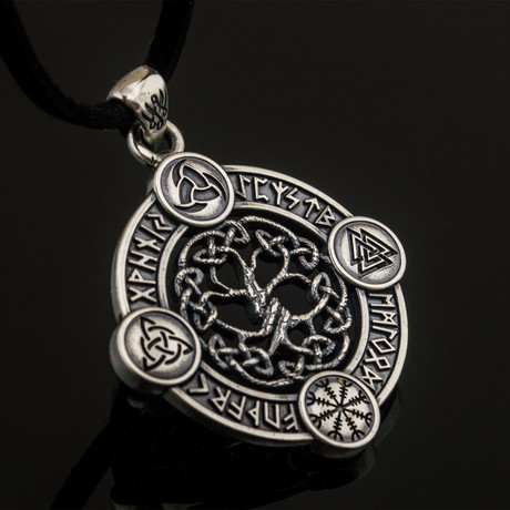 Elder Futhark Collection // Yggdrasil with Runes + Symbols V.1 // Silver