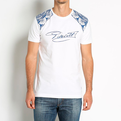 Signature T-Shirt // White + Navy (Euro: 46)