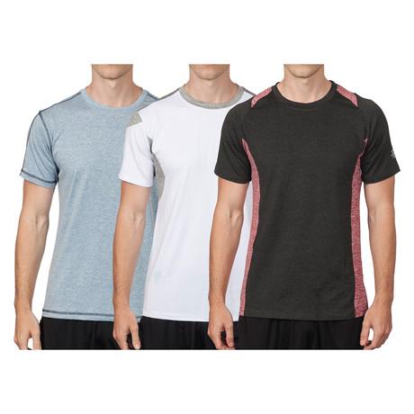 WarriorFit Fitness Tech T // 3-Pack // Blue + White + Black (XS)