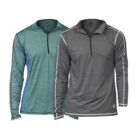 WarriorFit Fitness Tech Pullover // 2-Pack // Marbled Blue + Charcoal (XS)