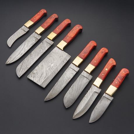 Damascus Kitchen Knife Set // Set of 8 // 1267