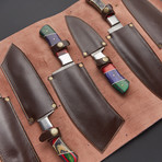 Damascus Kitchen Knife Set 1 // Set of 6