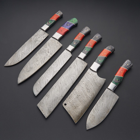 Damascus Kitchen Knife Set // Set of 6 // 1266