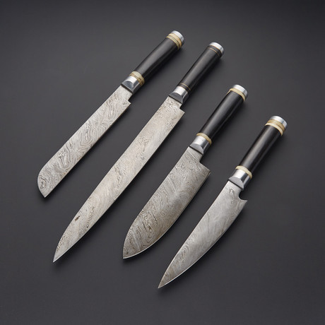Damascus Kitchen Knife Set // Set of 4 // 1269