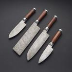 Damascus Kitchen Knife Set 1 // Set of 4