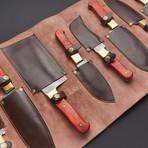 Damascus Kitchen Knife Set // Set of 8