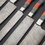 Damascus Kitchen Knife Set 2 // Set of 6