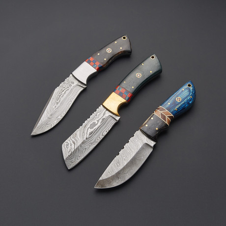 Damascus Steak Knife Set // Set Of 3 // 1271