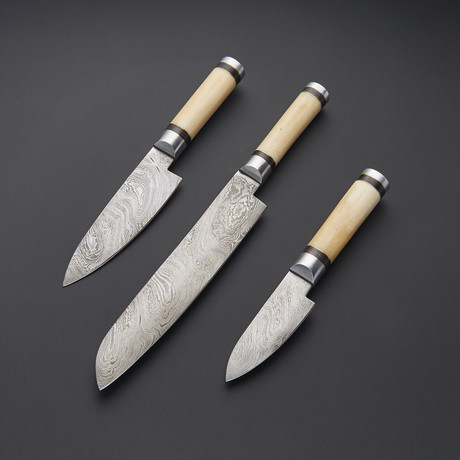 Damascus Kitchen Knife Set // Set of 3 // 1274