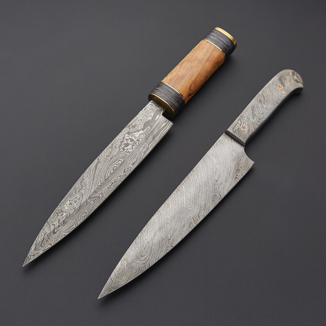 Full Damascus & Cowny Chef Knives // Set Of 2 // 1283