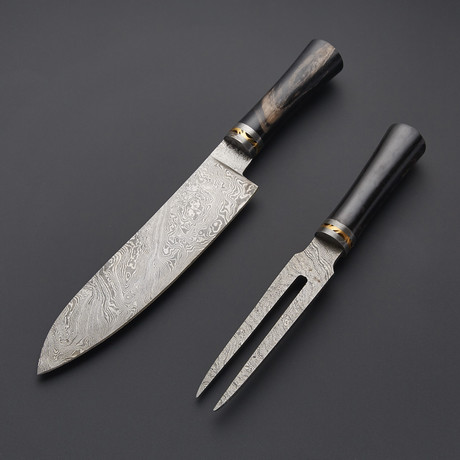 Damascus Chef Knife & Fork // 1284
