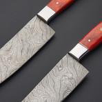 Damascus Kitchen Knife Set // Set Of 2